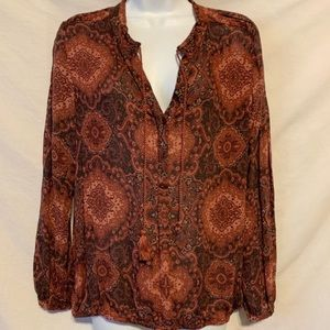 Lucky brand medium brown paisley shirt 856a